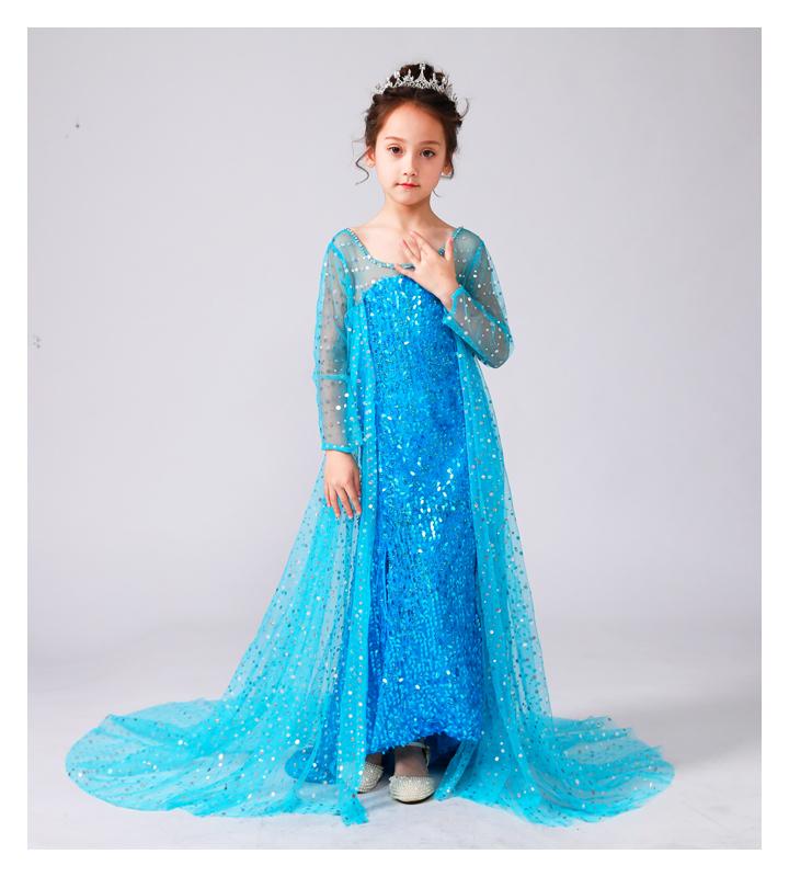 冰雪奇缘公主裙儿童衣服秋季女童连衣裙爱莎裙子艾莎爱沙礼服长裙