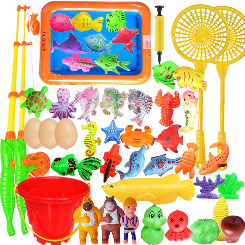 儿童钓鱼玩具磁性钓鱼戏水家庭户外益智耐摔捞鱼钓鱼玩具3-4-6岁