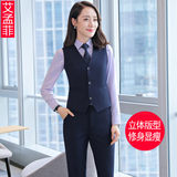 Large size suit vest female spring and autumn Korean short section dark blue tooling sleeveless hanging neck vest bank vest jacket
