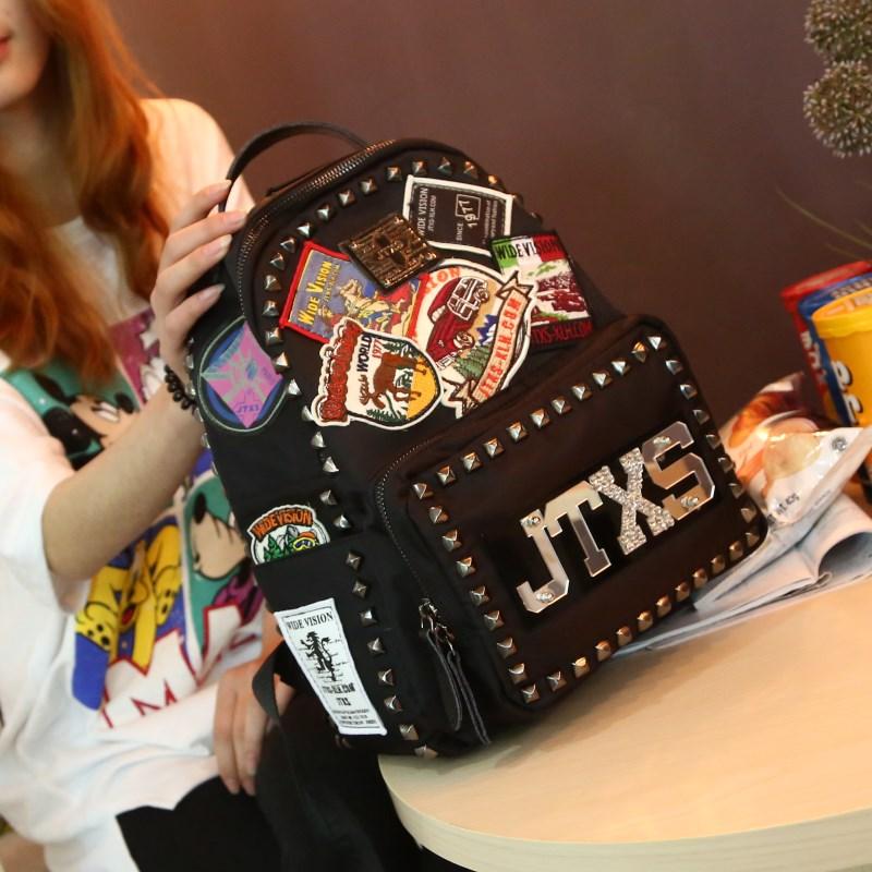 雙肩揹包女JTXS潮韓版牛津布2019新款 ins超火的百搭時尚鉚釘書包