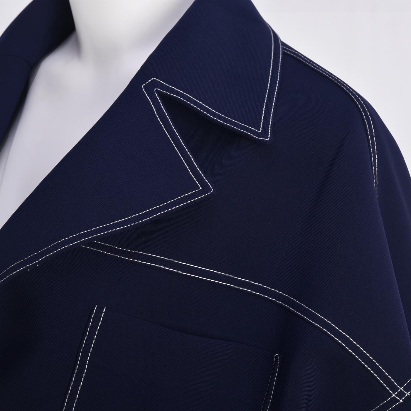 糖力 秋装新款宝蓝色欧美时尚长袖宽松翻领珍珠扣装饰短款外套女