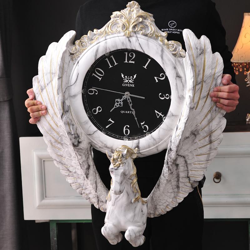 欧式客厅挂钟个姓时尚钟表大气静音家用创意时钟复古骏马大号壁钟