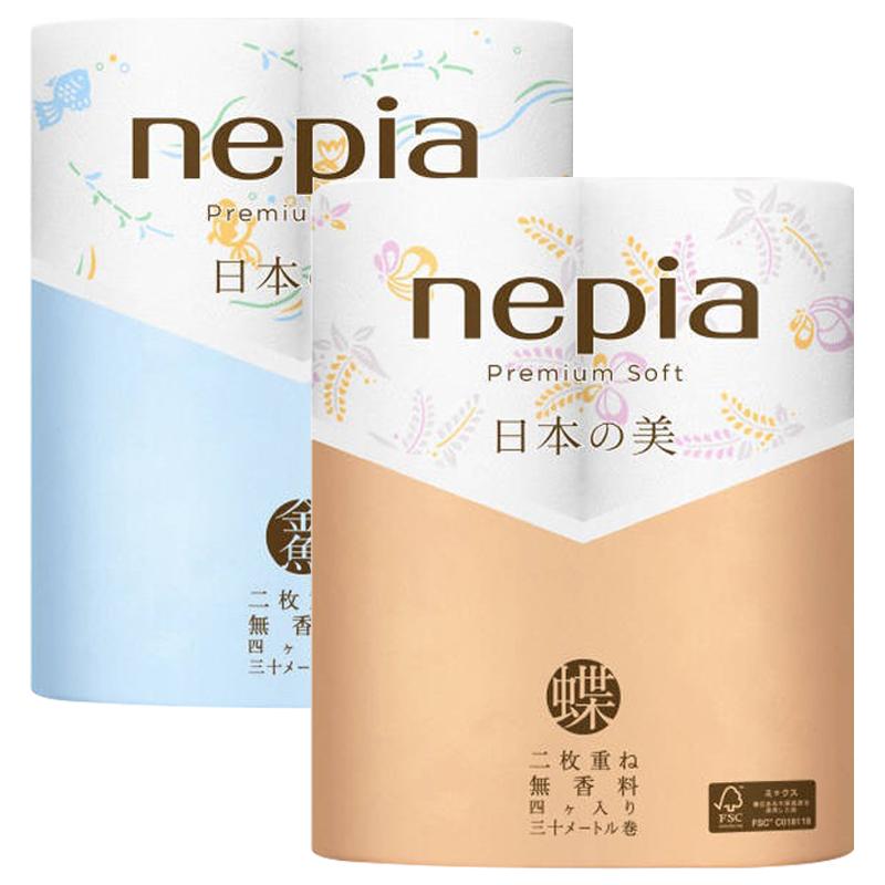 日本原裝Nepia妮飄premium系列柔軟舒適柔雙層軟捲紙雙層30米*4卷