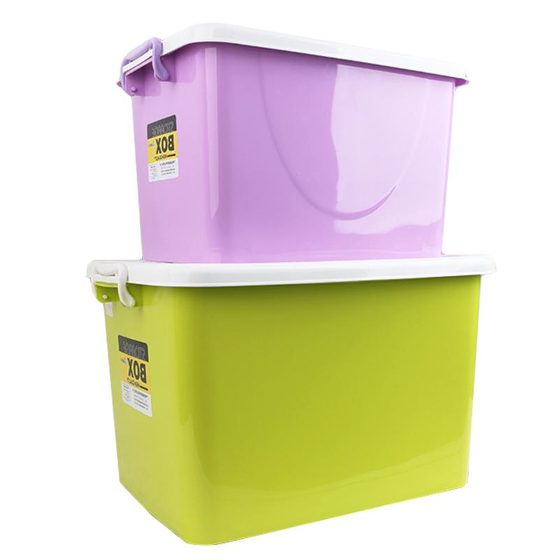 特大号加厚玩具家用衣服整理箱箱子储物箱放米收纳箱塑料带轮有盖