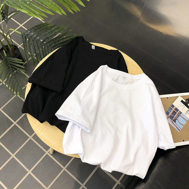 Simple solid color short-sleeved summer 2020 new Korean men loose ins on clothes Tide brand trend short-sleeve cotton t-shirt