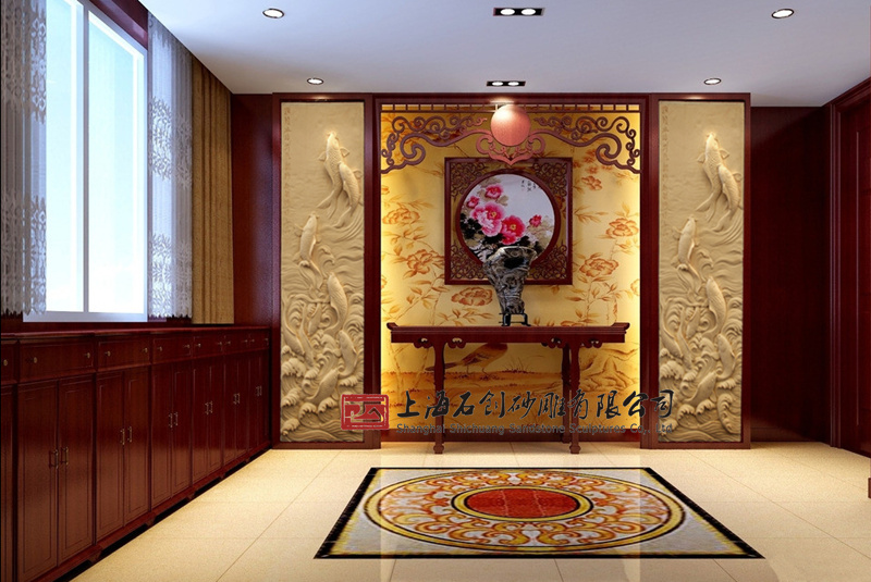 上海石创砂岩浮雕壁画电视背景墙玄关面板浮雕沙岩雕刻鲤鱼跃龙门