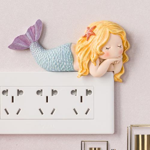 开关贴装饰墙贴插座框保护套客厅创意美人鱼开关轻奢卧室家用北欧