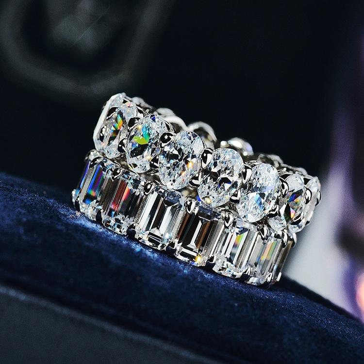 祖母绿切割钻戒莫桑石食指排钻戒指女莫桑钻时尚个姓纯银欧美网红