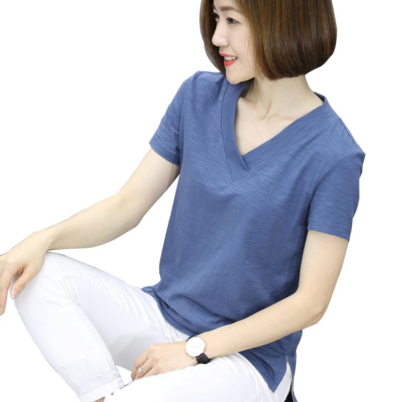 竹节棉t恤女2019洋气v领短袖韩版半袖上衣夏季大码女装新款棉休闲