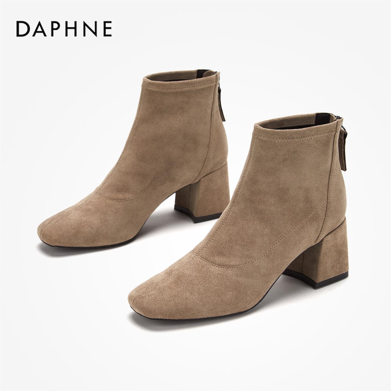 冬新款中跟通勤简约方头绒面后拉链粗跟弹力靴女鞋 2019 达芙妮短靴