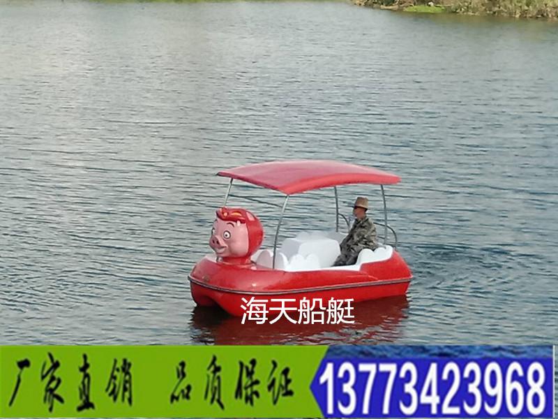 新款猪猪侠自排水四人脚踏船公园景区水上自行车游乐船观光脚踏船