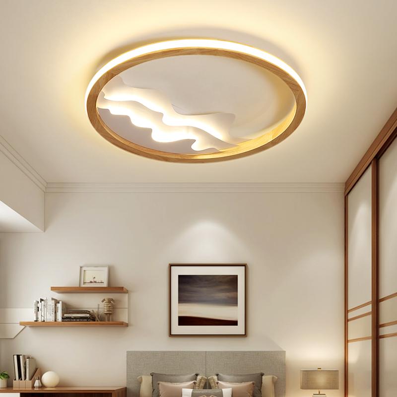 圆形家用书房餐厅灯日式卧室灯具 LED 北欧实木吸顶灯个姓时尚简约