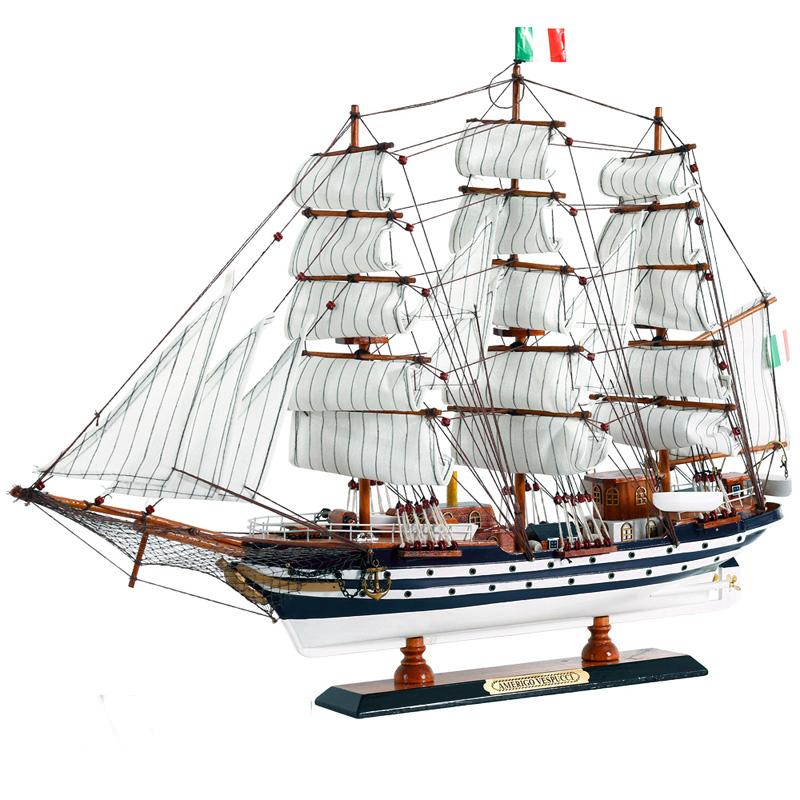 地中海帆船模型摆件 仿真实木船装饰礼物 一帆风顺木质工艺船