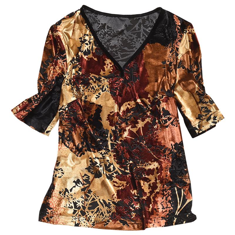 秀巧T恤邂逅復古情弹力絲絨凹凸立体花印花V领打底衫女遮肚子显瘦