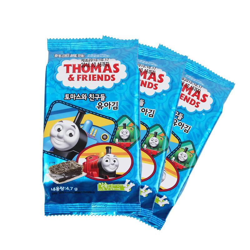 韩国进口托马斯海苔宝宝营养零食即食紫菜片儿童辅食无添加3连包