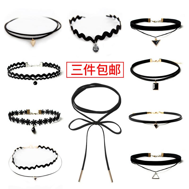 韩国脖子饰品女小众choker颈链颈带黑项圈脖链网红项链短款锁骨链