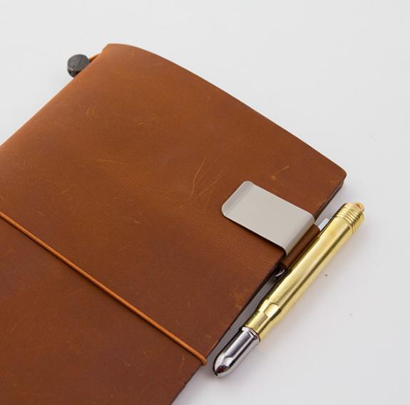 日本原装midori TN旅行者笔记本配件复古牛皮金属笔夹不锈钢笔插