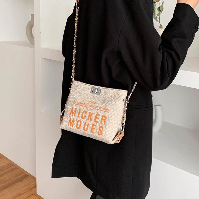 今年流行帆布小包包2021新款夏季斜挎包女包百搭时尚链条包水桶包主图
