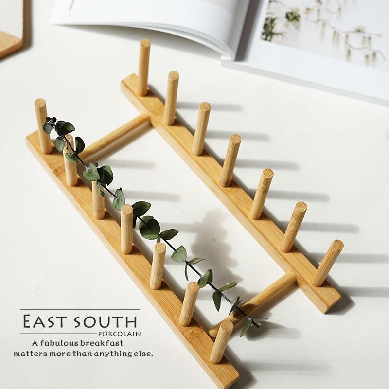 東南隅木器 竹製盤架 小碗架 多功能收納原色無毒木架子