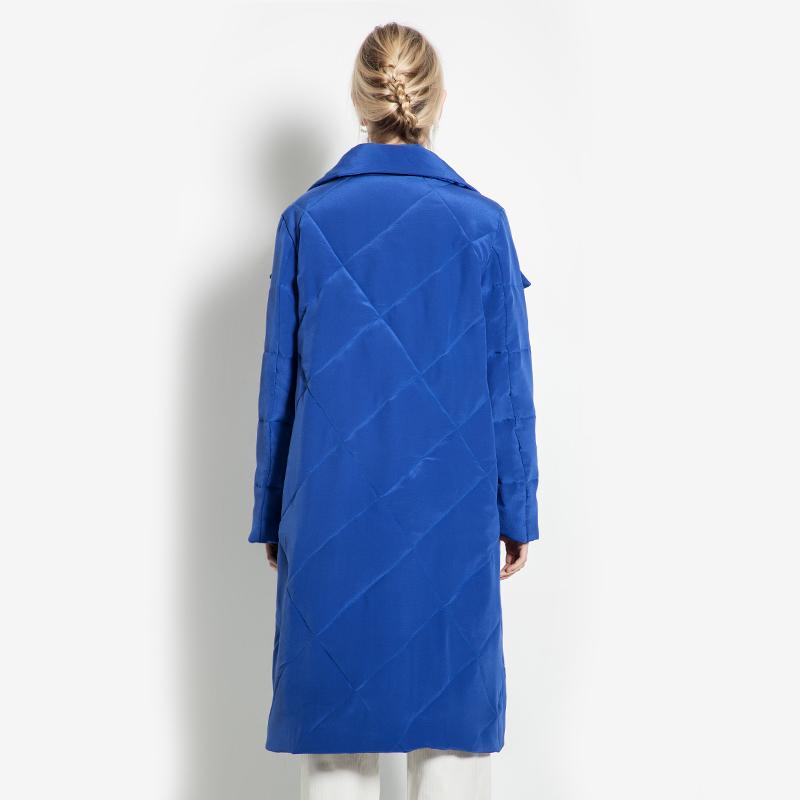 冬季女装气质宽松重磅真丝棉衣宝蓝色加厚保暖100%桑蚕丝棉服棉