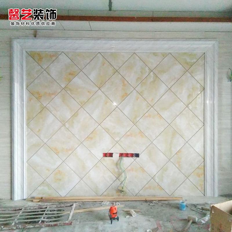 电视墙边框线条仿大理石瓷砖背景墙客厅现代简约微晶石背景墙8cm