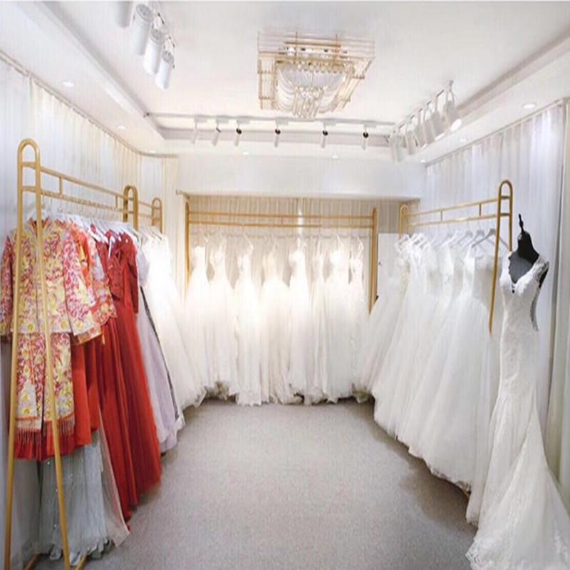 婚纱架影楼专用展示架礼服架子旗袍铁艺挂衣架金色落地欧式道具货