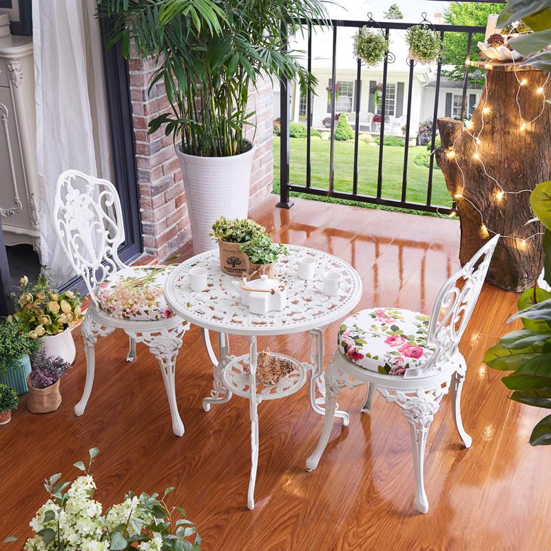 陽臺桌椅三件套歐式休閒鑄鋁小茶几戶外庭院露臺鐵藝現代簡約組合