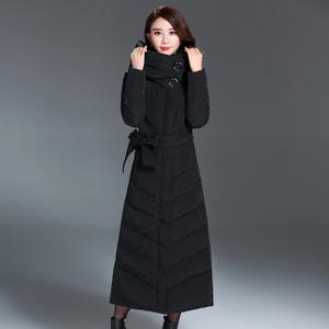 2017冬装新款欧美长款羽绒服女修身保暖裙摆白鸭绒超长款外套大衣