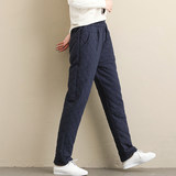 2020 winter new large size loose cotton quilted thick warm outer wear pants trousers female student complex Guha Lun