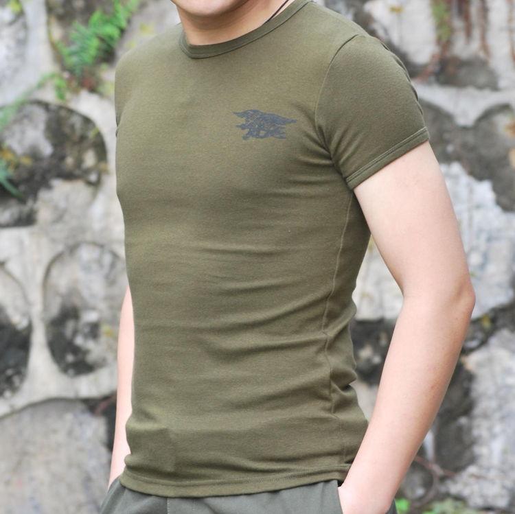 户外军迷夏季t恤 男士海豹突击队圆领紧身纯棉短袖汗衫半袖T恤