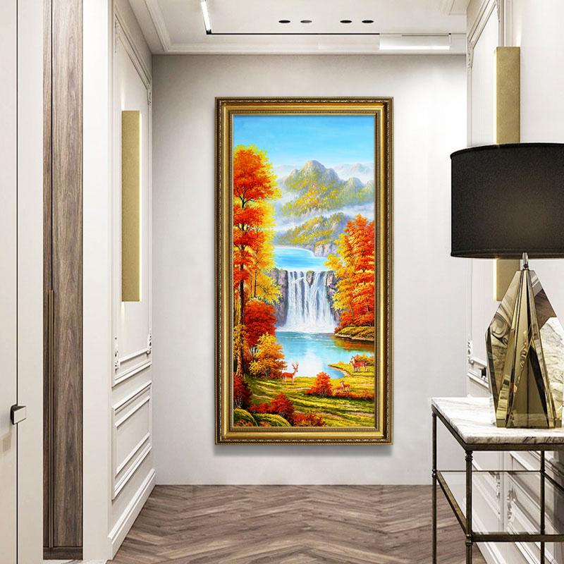 現代簡約手繪玄關風景聚寶盆油畫美式輕奢裝飾畫走廊過道歐式掛畫