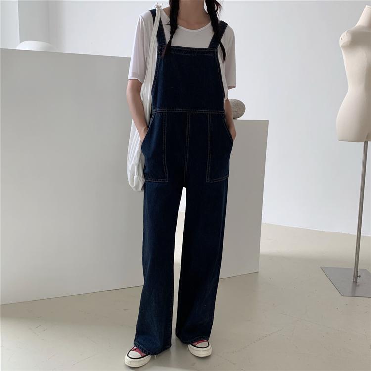 2021春夏装新款韩版宽松复古工装牛仔背带裤女高腰直筒长裤女学生 No.3