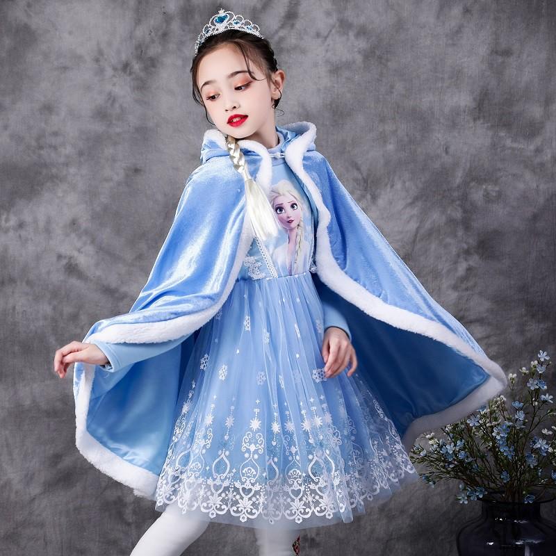 冰雪奇缘公主裙生日礼服加绒加厚冬