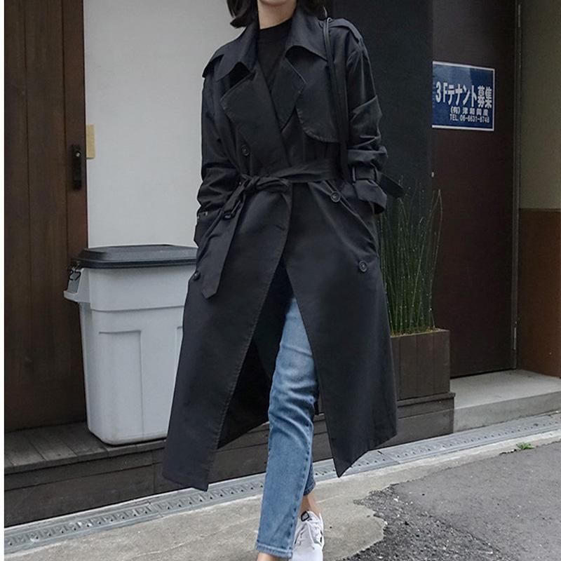 春秋新款韩版中长款宽松黑色风衣女腰带大衣显瘦大码外套 2019