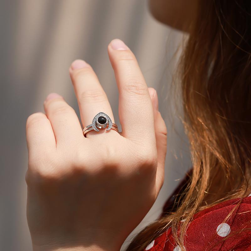 网红纯银戒指女投影定制刻字二合一组合套装送女友送闺蜜生日礼物