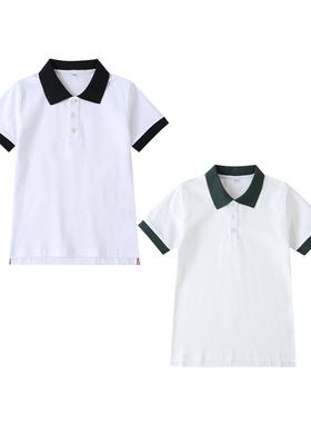 中小学生校服学院风英伦风园服夏装白色短袖上衣藏青墨绿纯色衣领