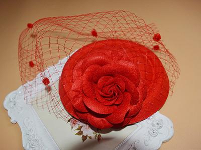 新娘复古写真毛呢红色花朵黑色点点大网面纱小礼帽发夹头饰发饰品