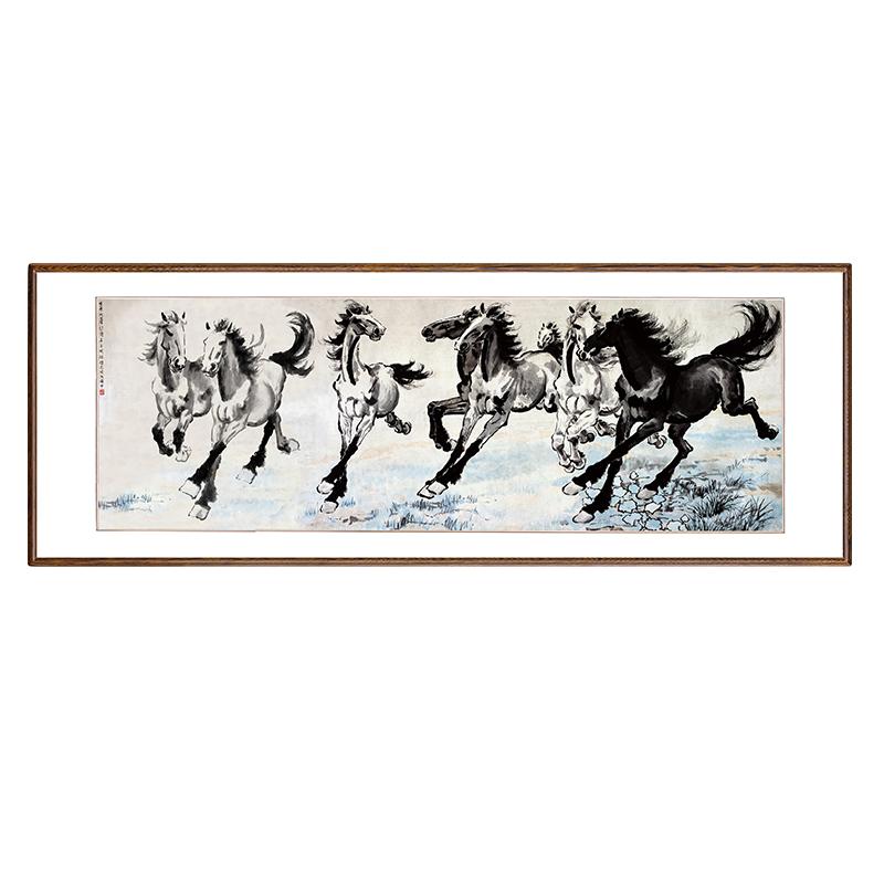 徐悲鴻八駿圖中式辦公室掛畫書房客廳實木有框馬到成功國畫裝飾畫