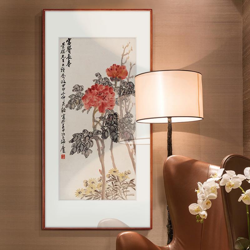 【十年老店】吳昌碩國畫中式玄關裝飾畫走廊過道背景豎版茶室掛畫