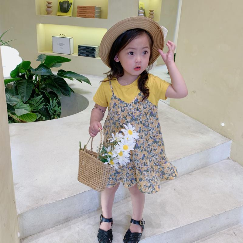 麦麦秋原创母女装连衣裙碎花夏季假两件女童裙子短袖洋气韩版亲子