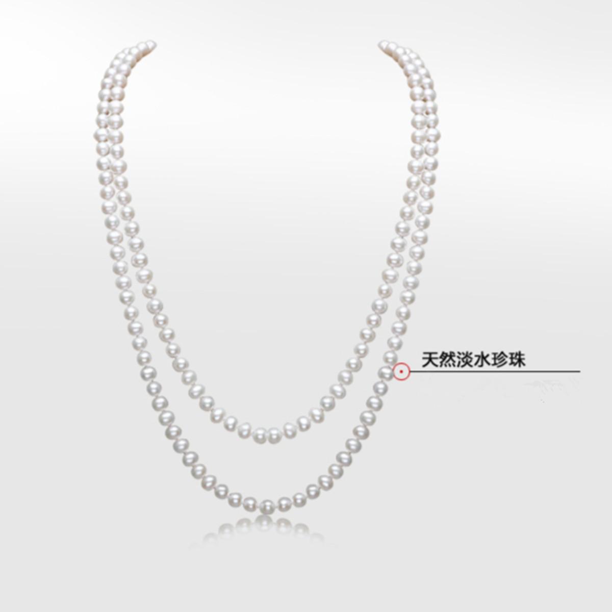 近圆强光多层项链正品女清仓特价包邮 10mm 9 天然淡水珍珠毛衣链