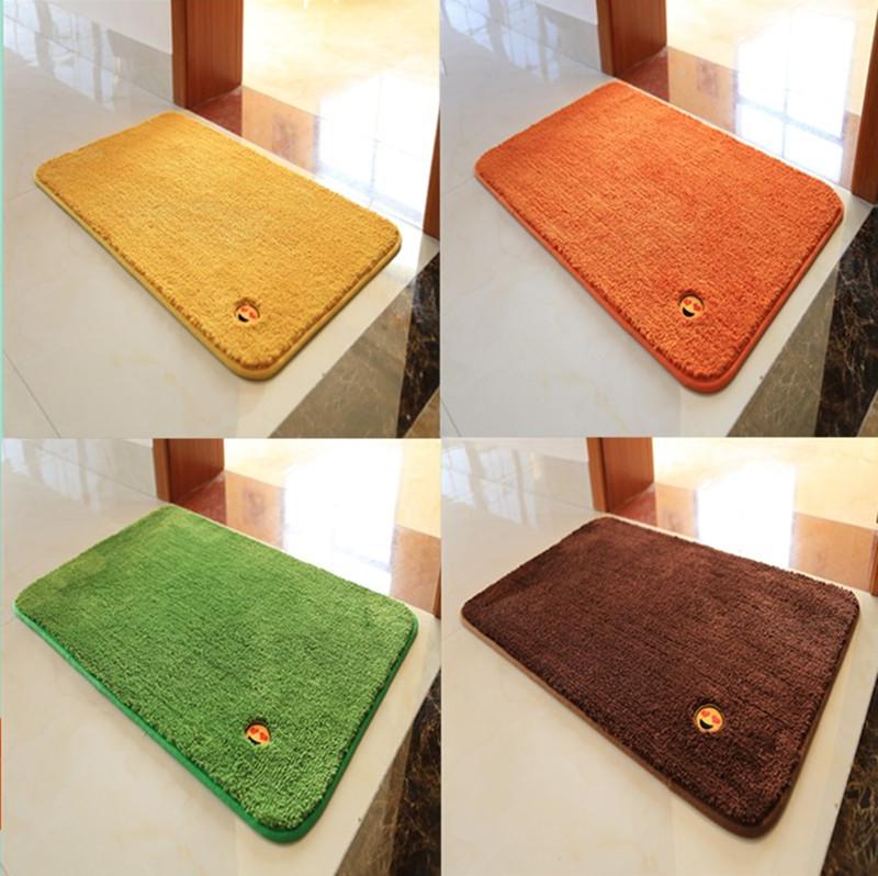 定做純色金黃色風水地墊 橙色 綠色 防滑吸水門墊定製客廳大地毯