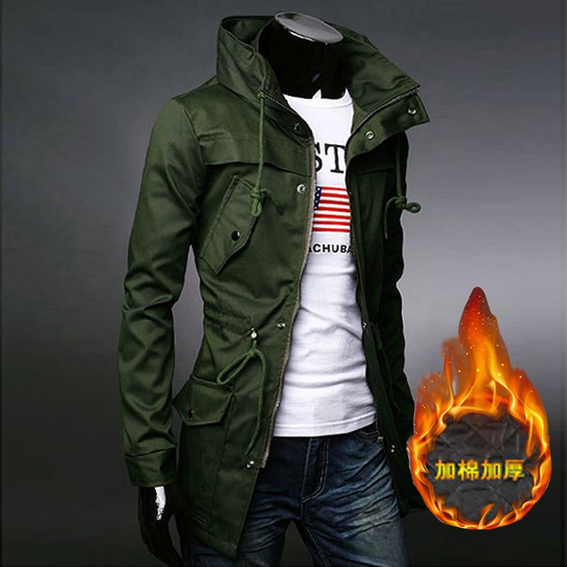 秋新款风衣男中长款欧美工装军旅风男士军绿披风秋冬加厚保暖外套