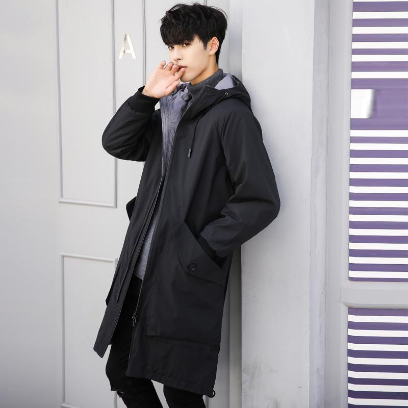 新款韩版潮流大衣外套男春秋过膝风衣男中长款薄款潮 2019 男士风衣