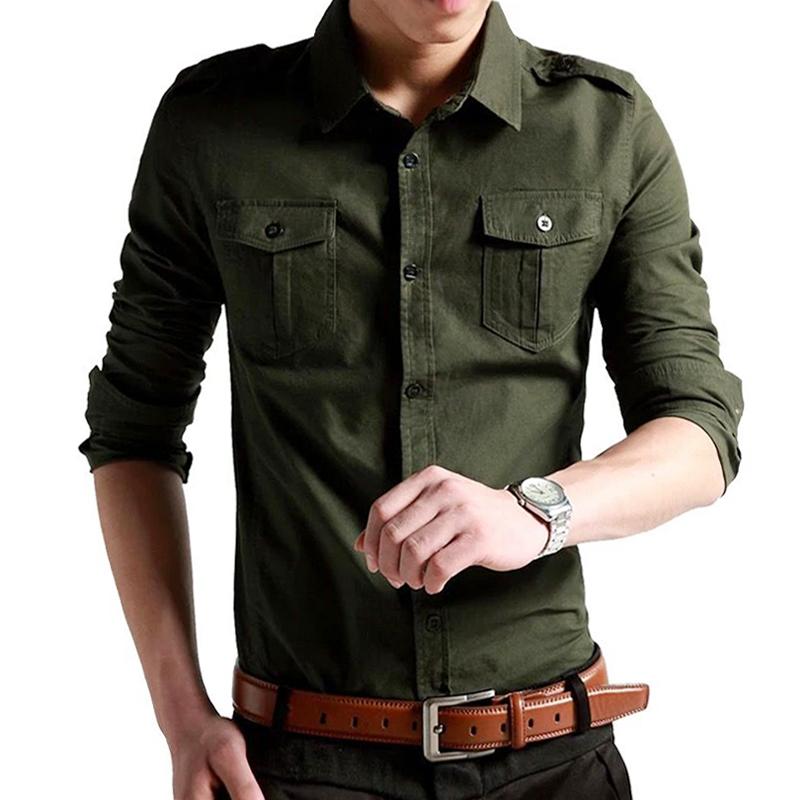 夏季新款双口袋纯棉长短袖衬衫军工装青年薄款方领修身衬衣男装 18