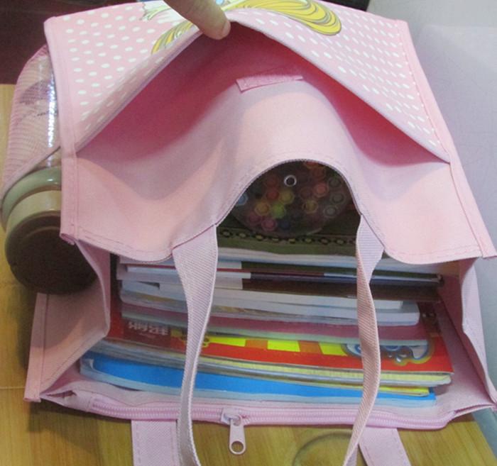 学生手提补习美术袋男女儿童a4帆布大号简约补课拎书袋防水装书包