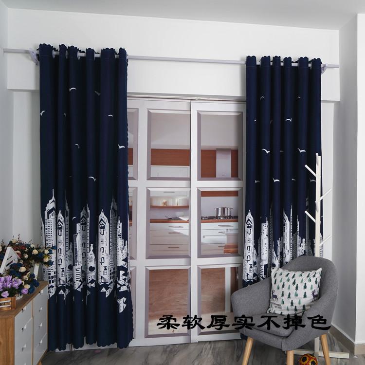 定制窗帘短帘半帘飘窗客厅卧室宾馆打孔挂钩成品窗帘魔术贴免打孔