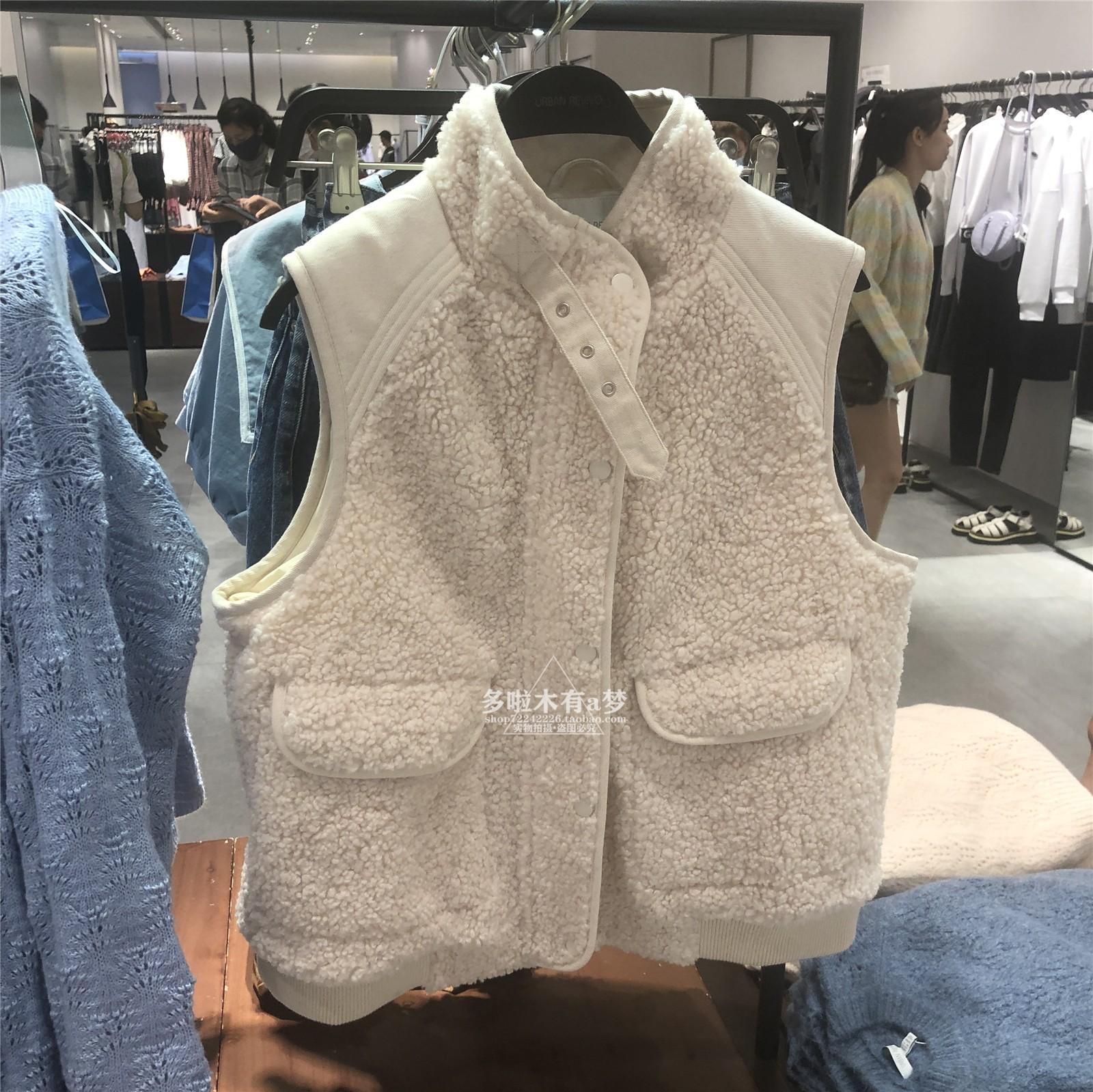 UR ZARACOS冬季新品女装潮流无袖羊羔绒背心马甲外套YL36S1AN2000