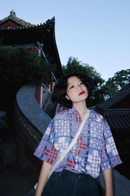 张子枫 同款「北海之夏」化学少女短袖衬衫女夏复古港风小众衬衣