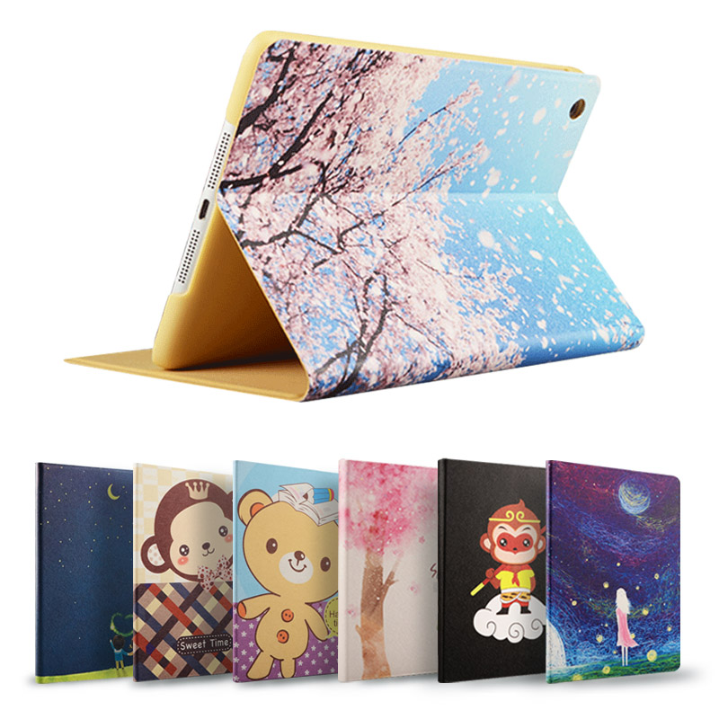 蘋果iPad Mini2休眠保護Mini3支架迷你3外殼Mini卡通超薄彩繪皮套